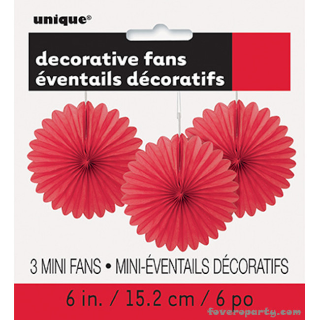 3 Decorative Fan Red 15 cm