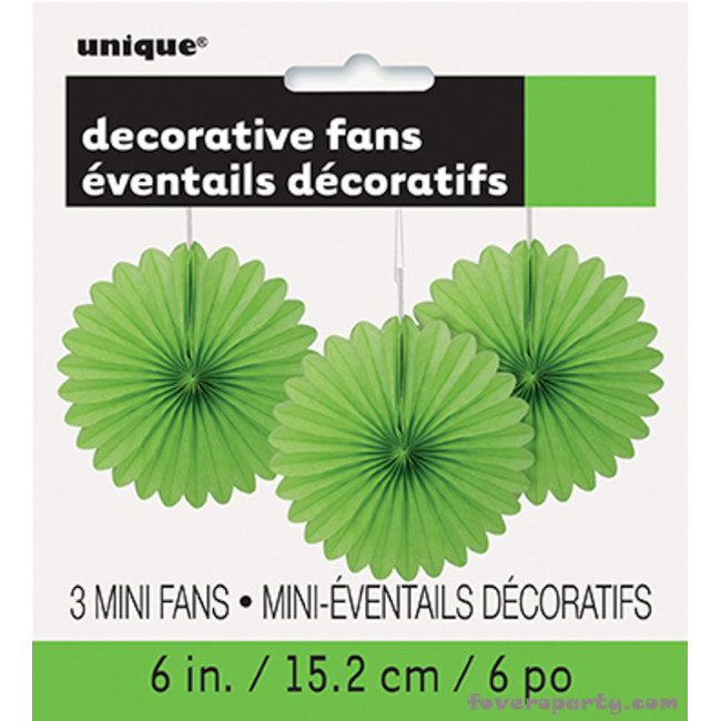 3 Decorative Fan Lime Green 15 cm