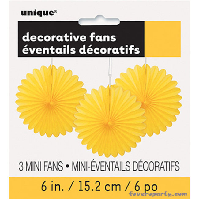 3 Decorative Fan Yellow15 cm