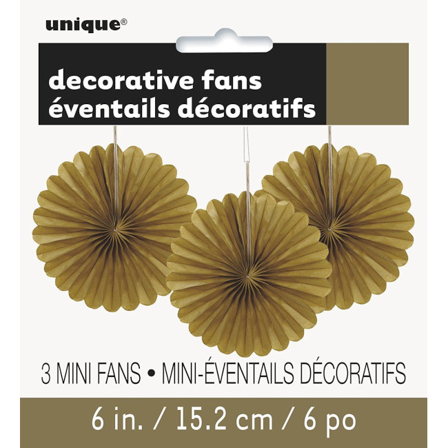 3 Decorative Fan Gold 15 cm