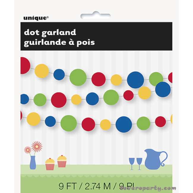 Paper Garland with Dots 2.75m