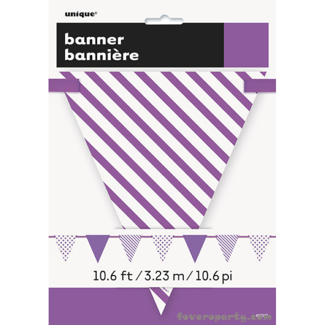 Paper Flag Banner Purple Dots & Stripes 3.20m