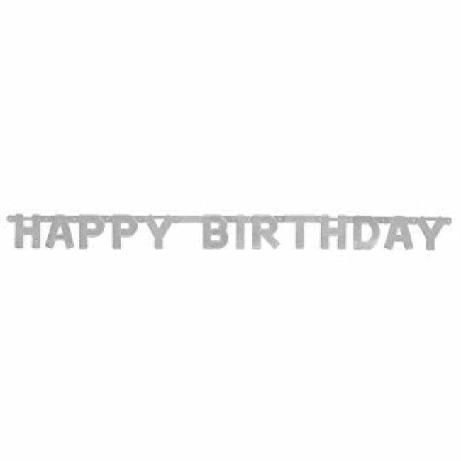 Happy Birthday Jointed Banner Silver 1.27cm