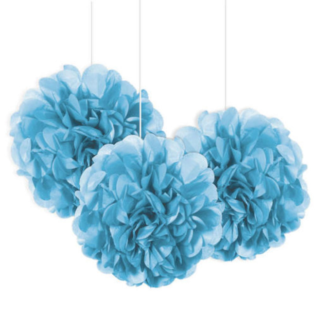3 Decorative Puff Ball Light Blue 22 cm