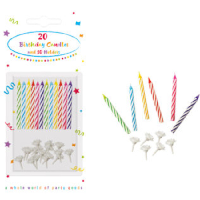 20 Birthday Candles mix colours