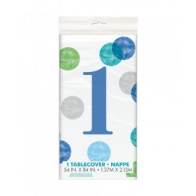 Tablecover First Birthday Blue Dots