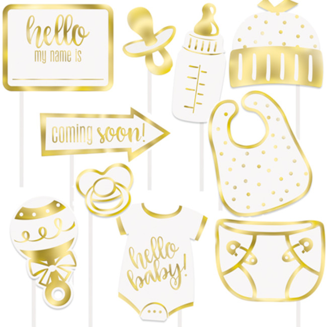Baby Shower Photo props Gold(10pcs)