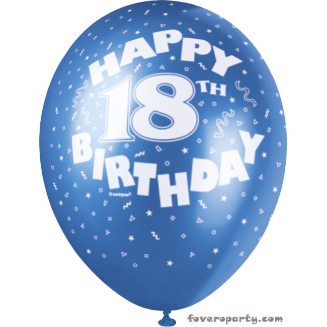 5 Balloons No.18 Assorted colours 30cm