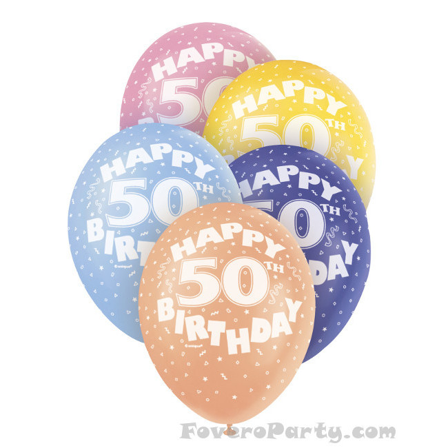 5 Balloons No.50 Assorted colours 30cm