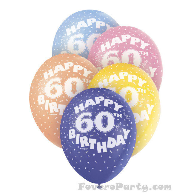 5 Balloons No.60 Assorted colours 30cm