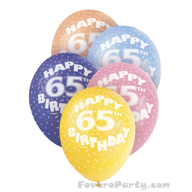 5 Balloons No.65 Assorted colours 30cm