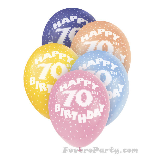 5 Balloons No.70 Assorted colours 30cm