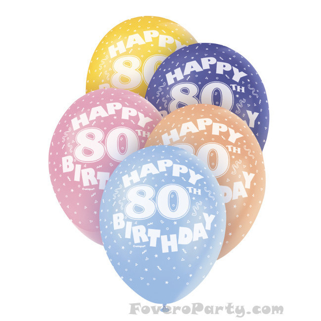 5 Balloons No.80 Assorted colours 30cm