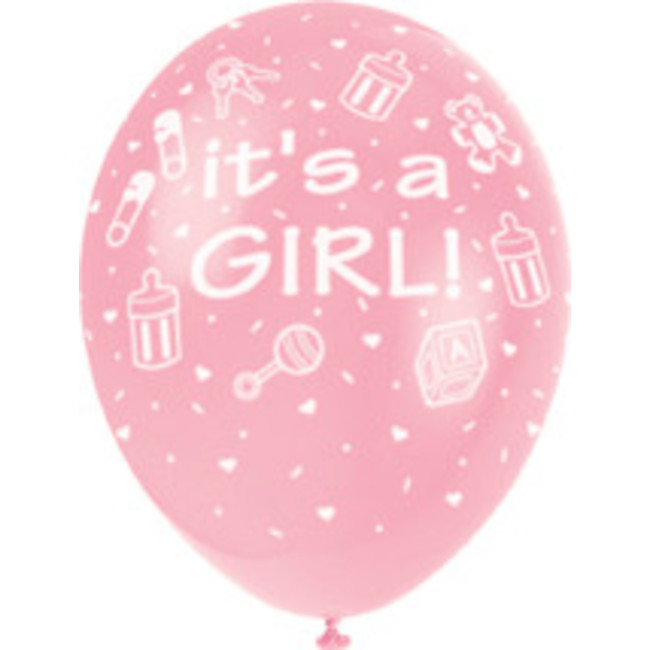 5 Balloons 30cm It's A Girl Pink