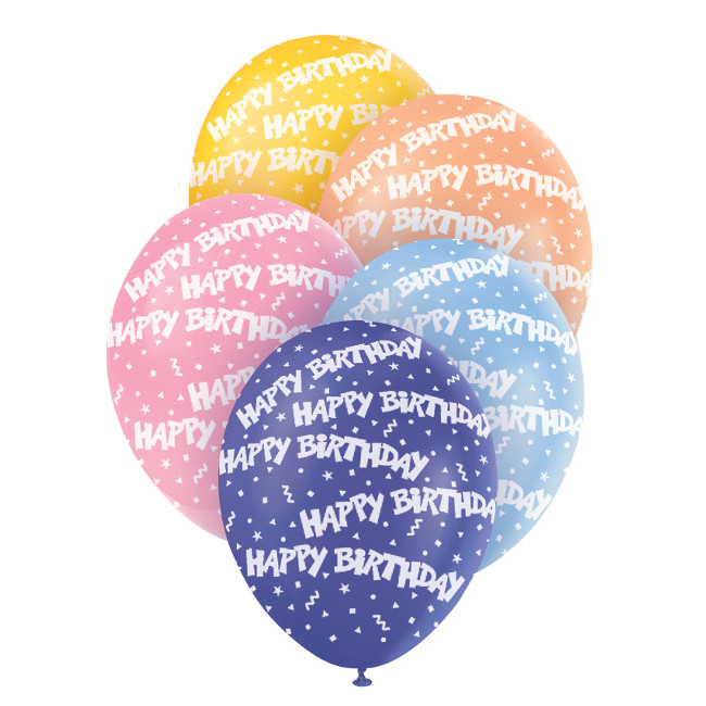 5 Balloons Happy Birthday Assorted Colours 30cm