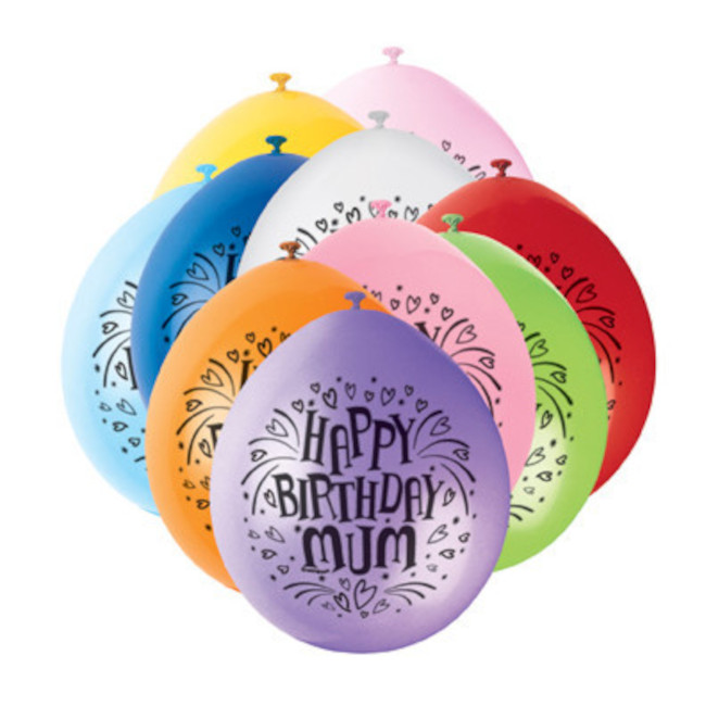 10 Balloons Birthday Mum Assorted Colours 22cm