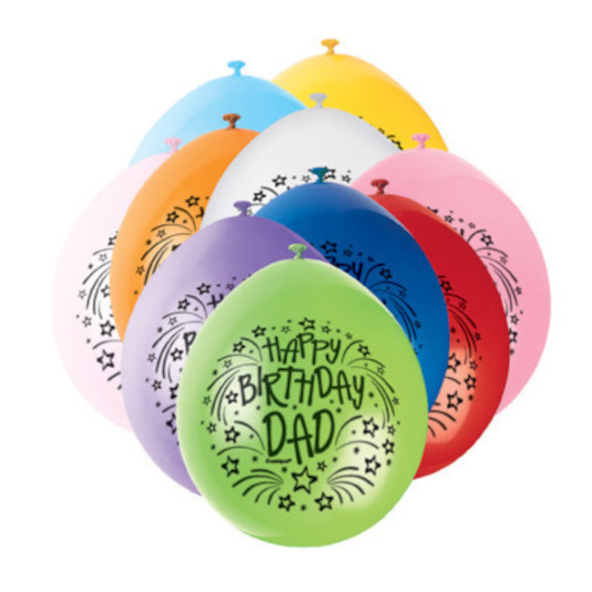 10 Balloons Birthday Dad Assorted Colours 22cm