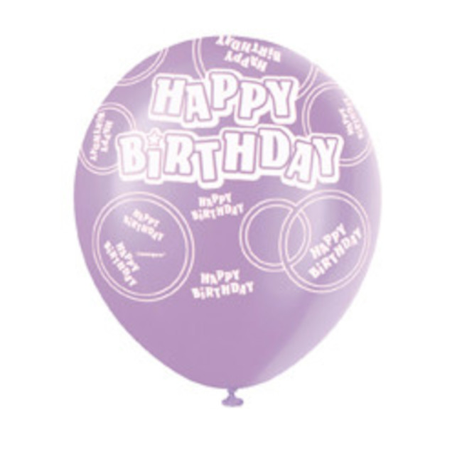 6 Balloons Birthday assorted colours 30cm