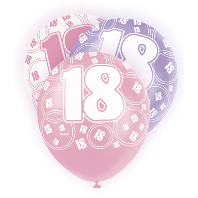 6 Balloons 18 Birthday assorted colours 30cm