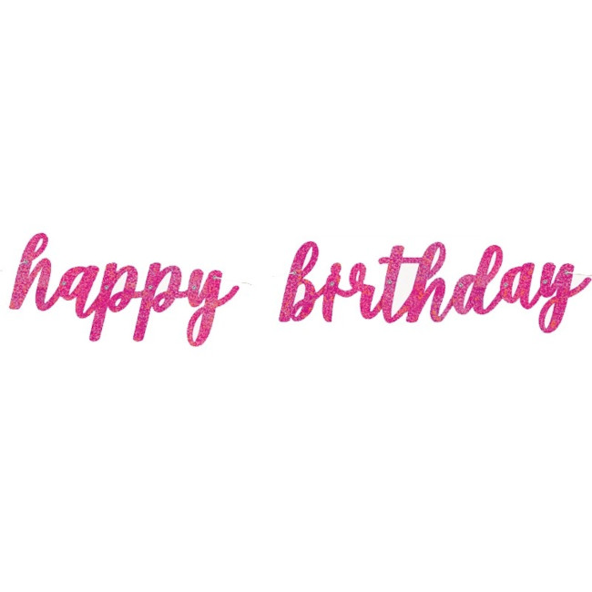 Happy Birthday Jointed Banner Fuchsia 83cm
