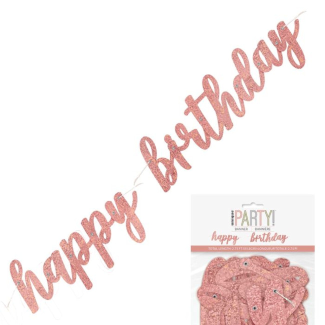 Happy Birthday Jointed Banner Rosegold 83cm