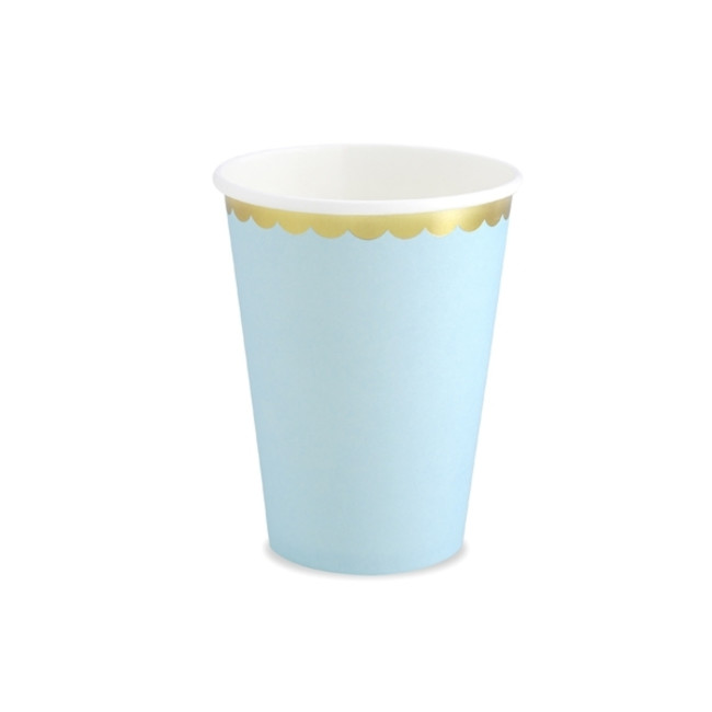 6 Paper Cups Light Blue 220ml