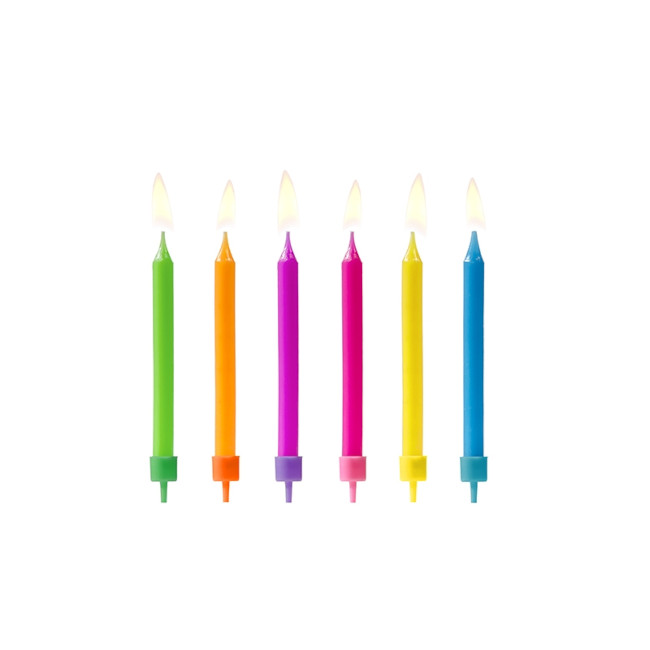6 Candles Colourful Mix 6.5cm