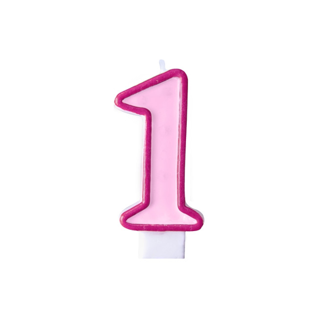 Numeral Candle 1 Pink