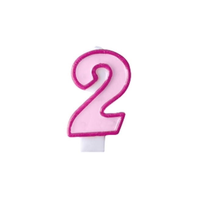 Numeral Candle 2 Pink