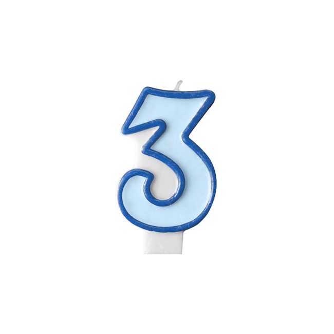 Numeral Candle 3 Blue