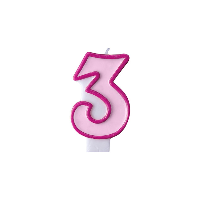 Numeral Candle 3 Pink