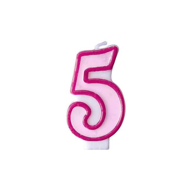 Numeral Candle 5 Pink