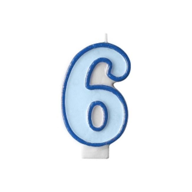 Numeral Candle 6 Blue