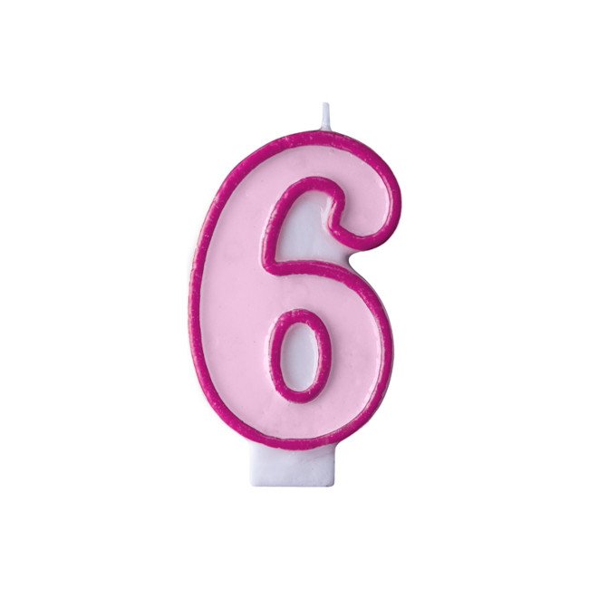 Numeral Candle 6 Pink