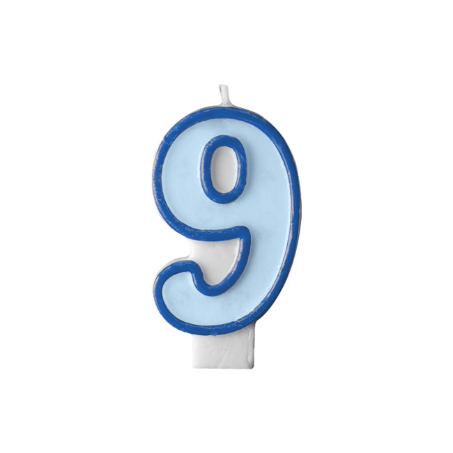Numeral Candle 9 Blue