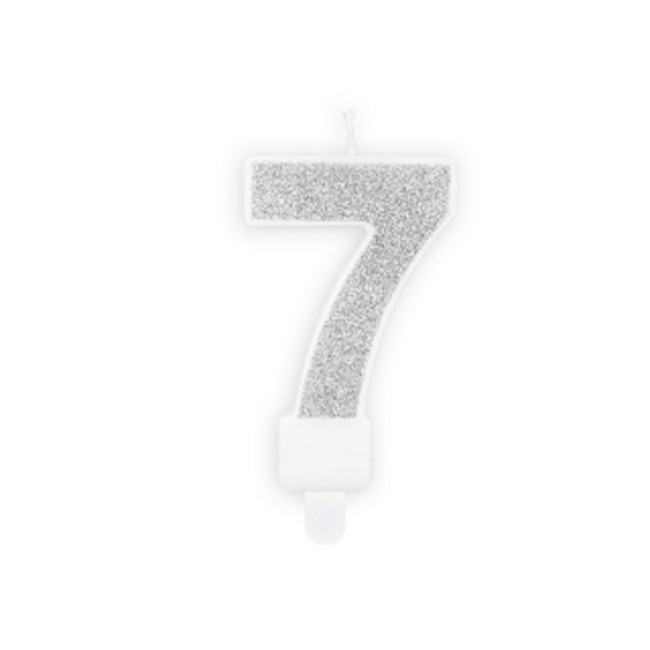 Numeral Candle 7 Silver Glittery