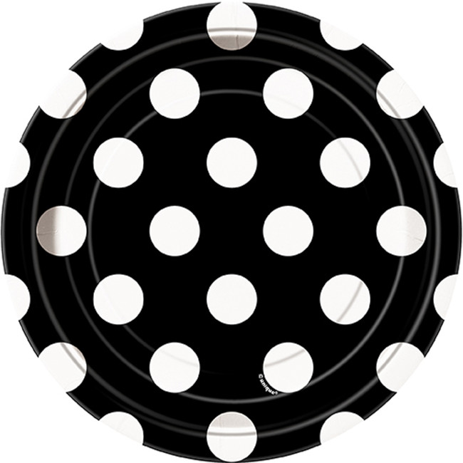 8 Plates Midnight Black Dot 17cm
