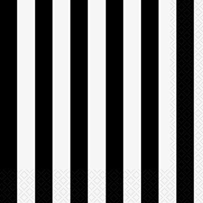 16 Napkins Black Stripe