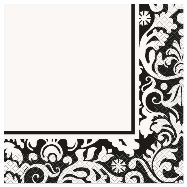 16 Napkins Black Damask
