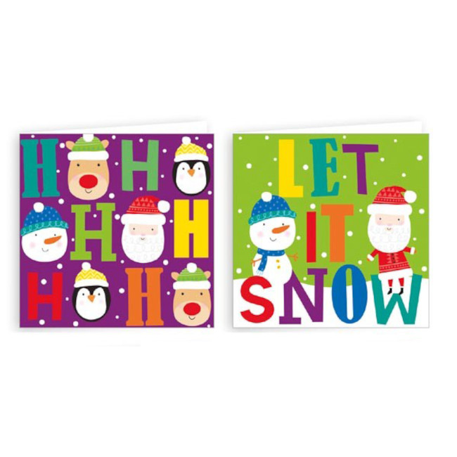 20 Christmas Cards 9X9cm with envelopes (2 designs)