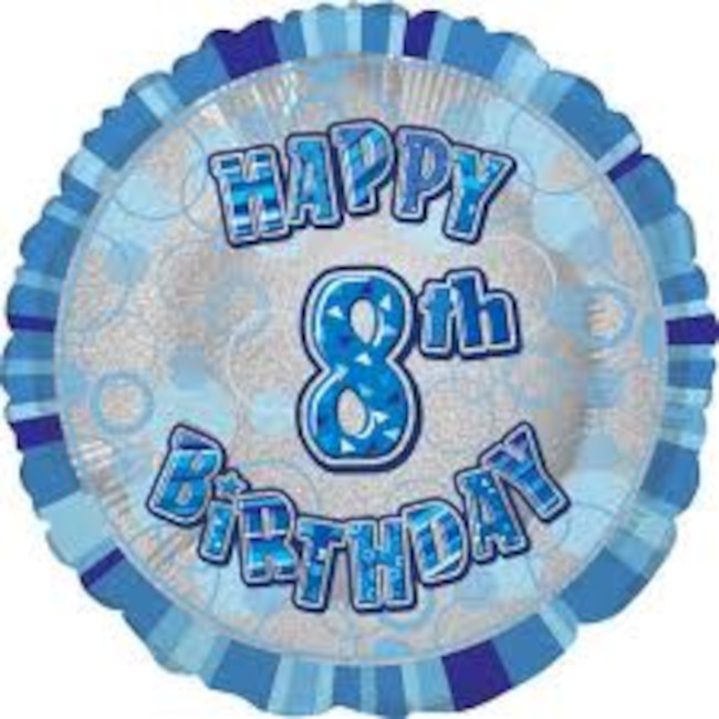 Foil Balloon 8 Prismatic Blue 45cm