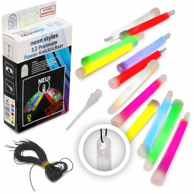 Glowstick assorted colours (12pc) 15cm