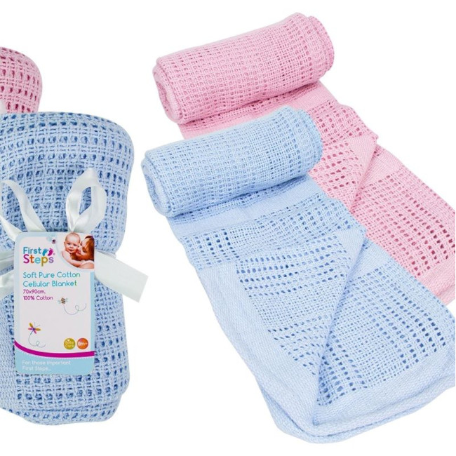 Cellular Baby Blanket blue