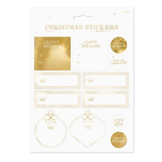12 Christmas stickers gold